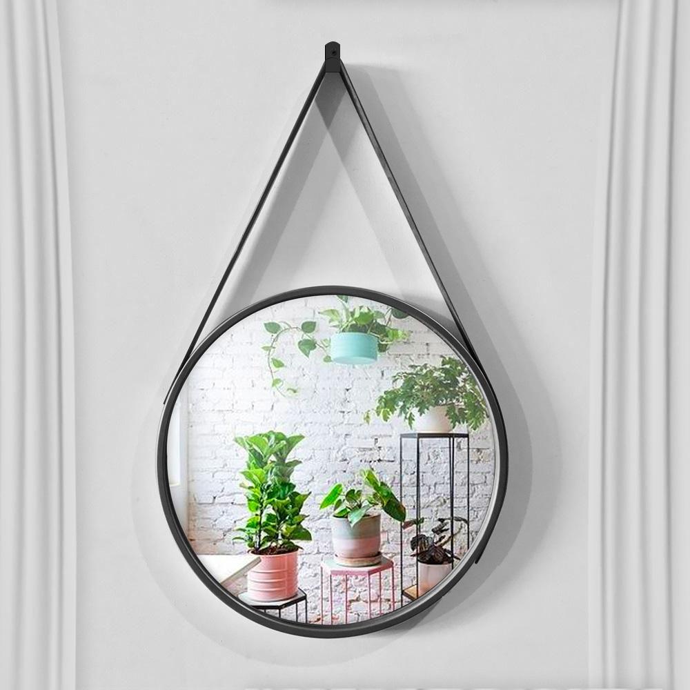 Espelho Decorativo Adnet Redondo Preto 60 cm com Alça Preta - D'Rossi