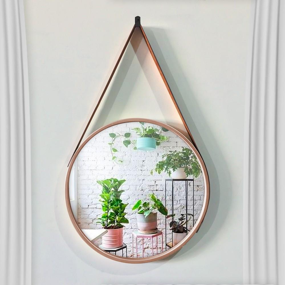 Espelho Decorativo Adnet Redondo Rosê 33 cm D'Rossi