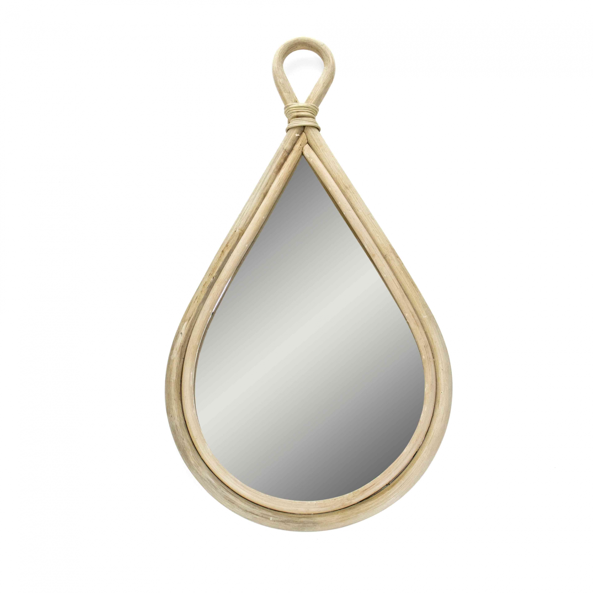 Espelho Decorativo Gota Em Rattan Madeira Oval 75x40 Cm - D'Rossi