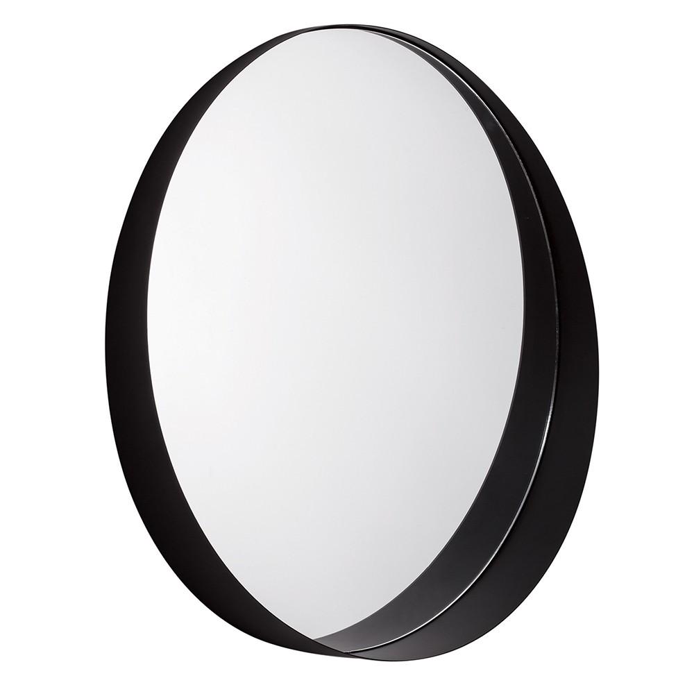 Espelho Redondo em Metal Preto 50x50 cm - D'Rossi