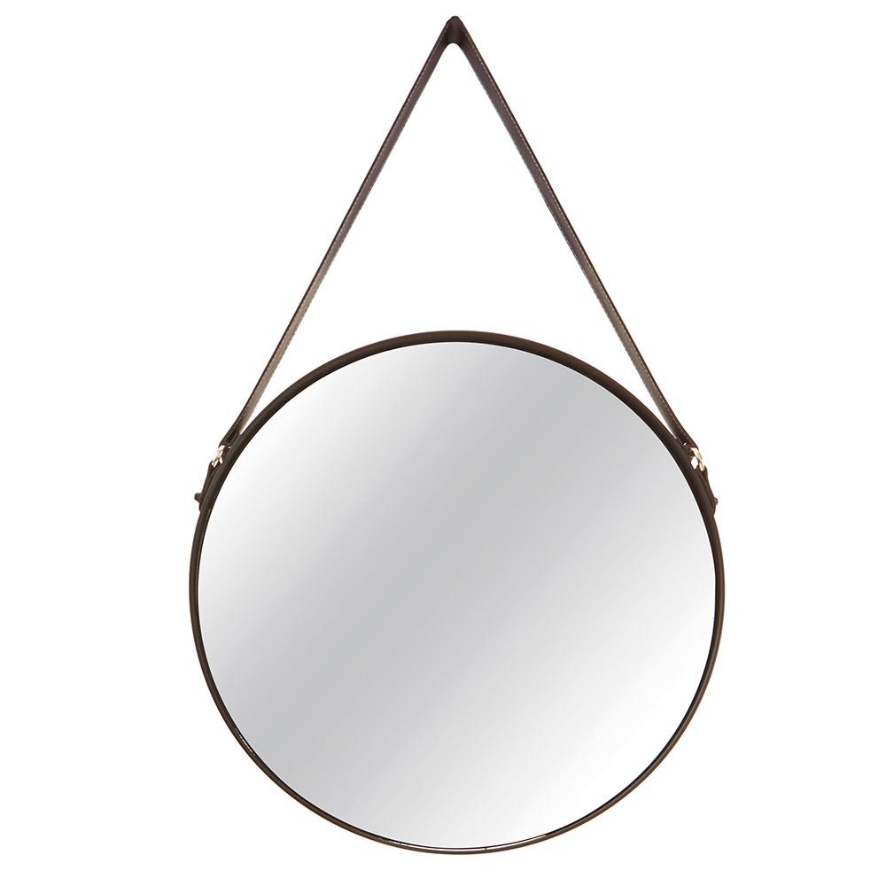 Espelho Adnet Redondo Preto com Alça de Couro 57,5x36 cm - D'Rossi