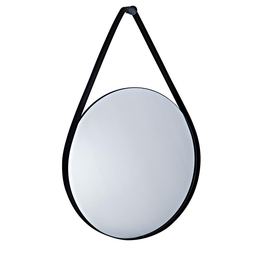 Espelho Adnet Redondo Preto com Alça Metálica 61x41 cm - D'Rossi