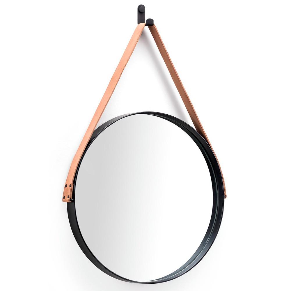 Espelho Redondo 50 cm Adnet Preto Escandinavo com Alça de Couro Caramelo D'Rossi