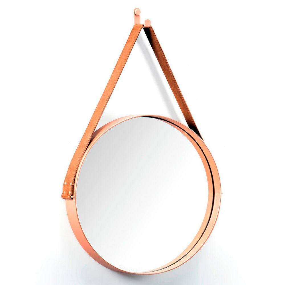 Espelho Redondo 50 cm Decorativo Adnet Cobre Escandinavo com Alça de Couro Caramelo D'Rossi