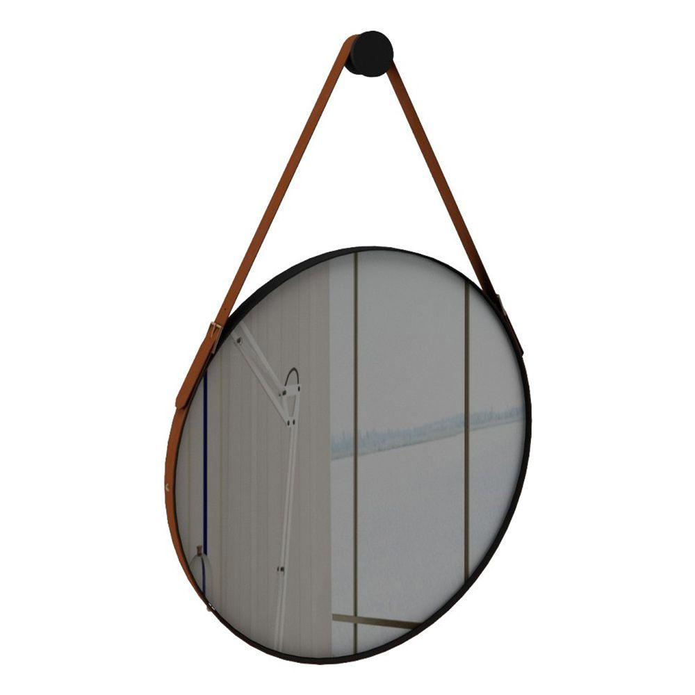 Espelho Redondo Adnet Onix Preto 50 cm Fosco com Couro Caramelo - D'Rossi