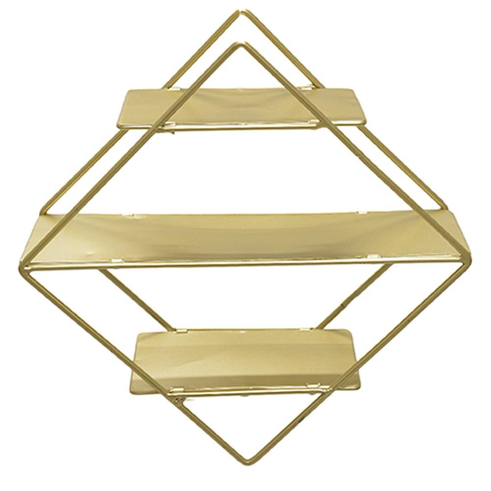Estante Decorativa Geométrica Metálica com Suportes de Madeira Dourado 30X30X10 cm D'Rossi
