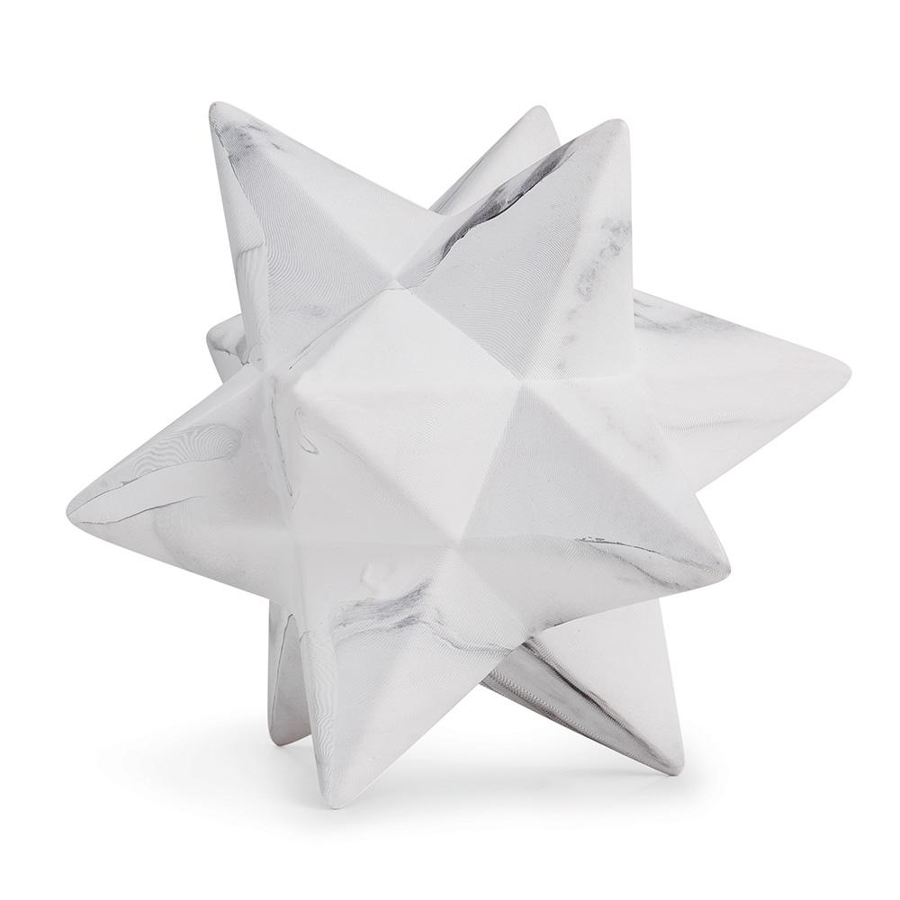 Enfeite Decorativo Estrela em Cerâmica Mármore Branco 14x18 cm - D'Rossi