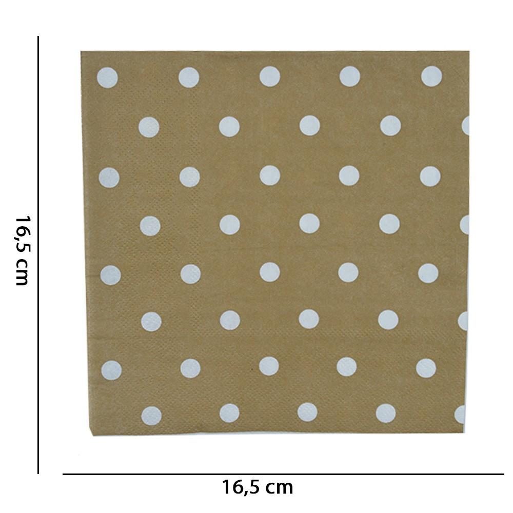 Guardanapo Dourado Natal com 20 Unidades 33X33 cm D'Rossi