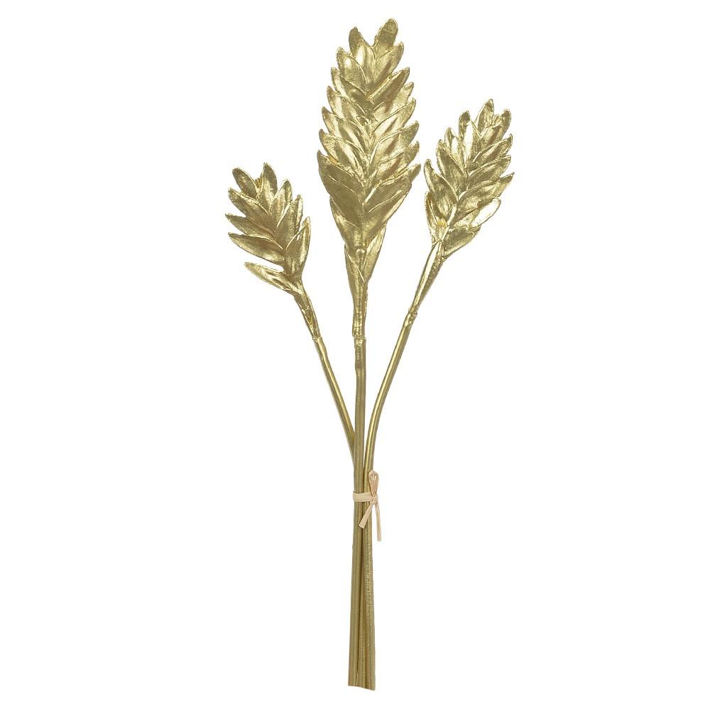 Folhagem Natalina Helicônia Dourado 45cm D'Rossi