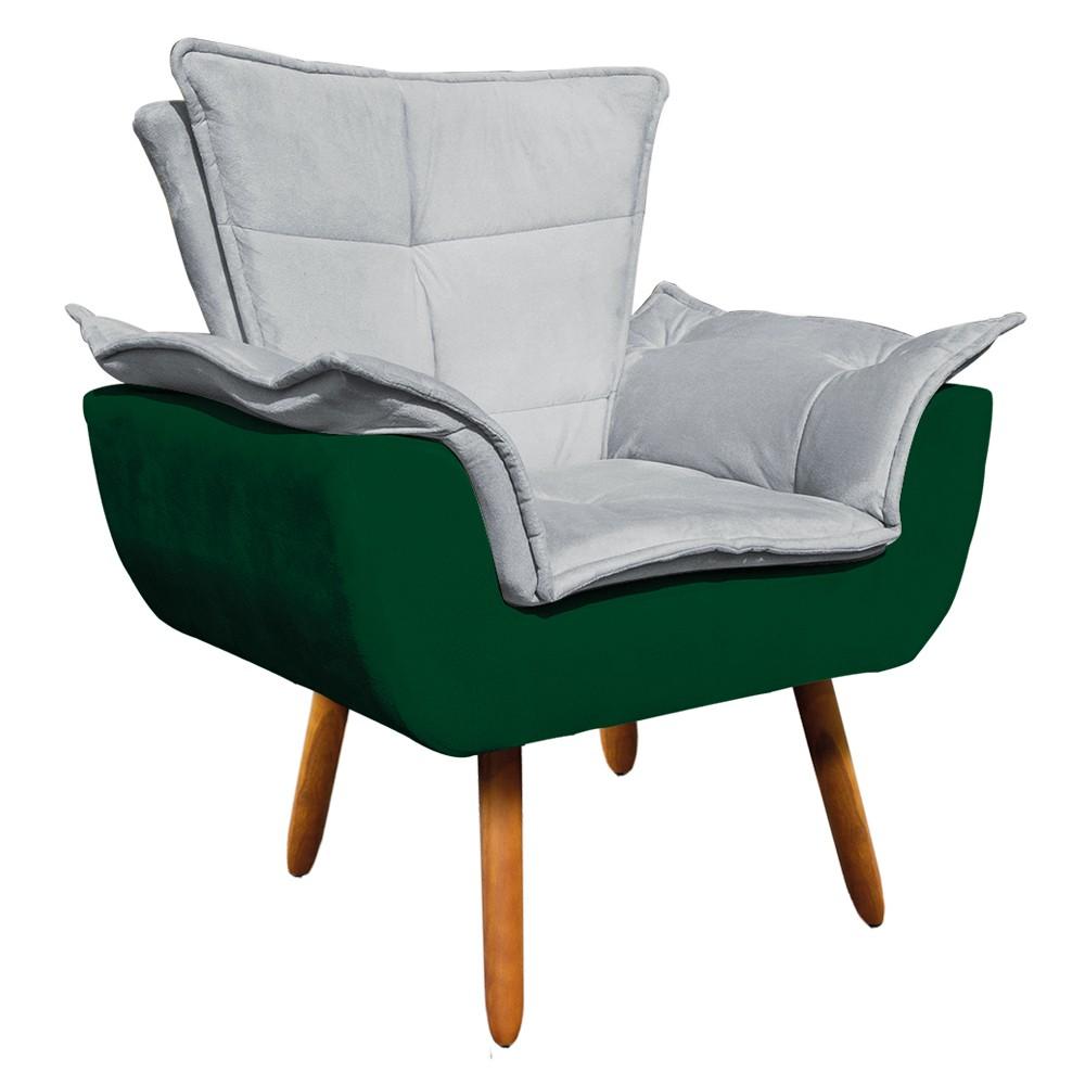 Kit 01 Namoradeira Suede Verde e 01 Poltrona Opala Composê Veludo Cinza com Suede Verde D'Rossi