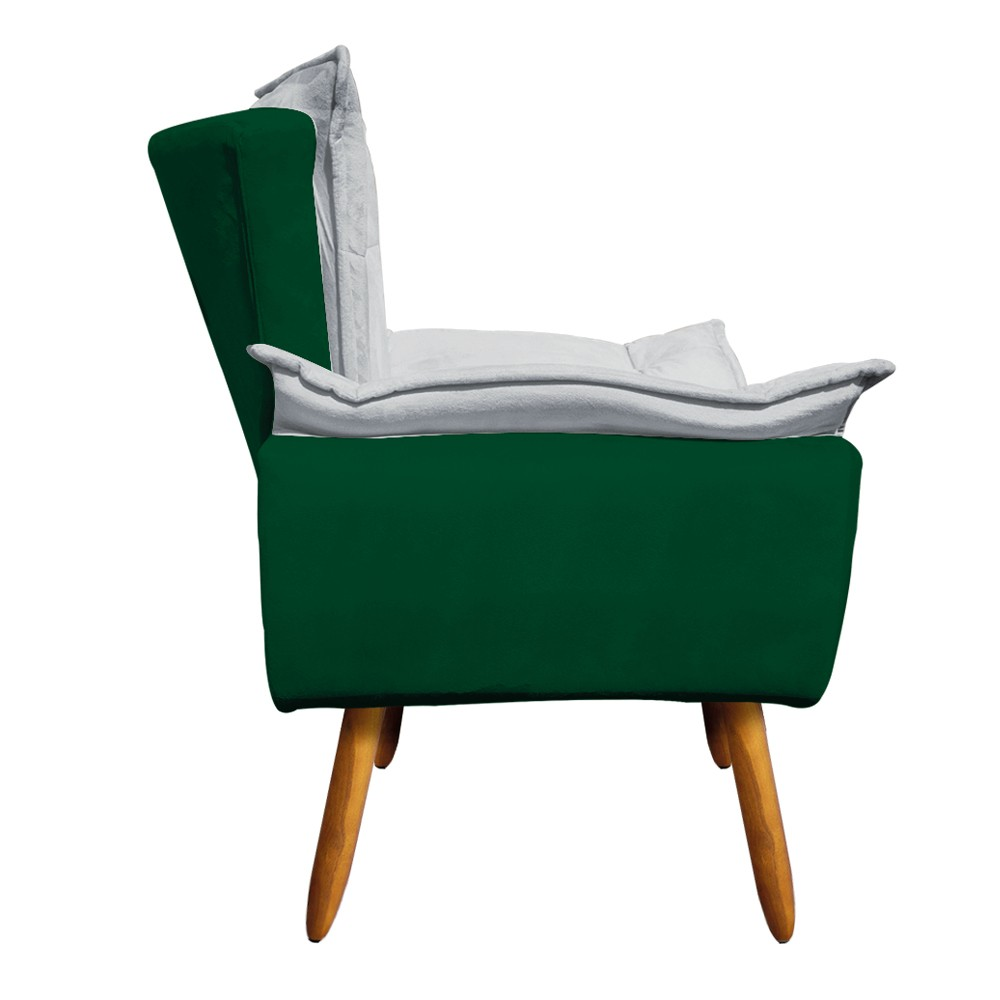 Kit 01 Namoradeira Suede Verde e 02 Poltronas Opala Composê Veludo Cinza com Suede Verde D'Rossi