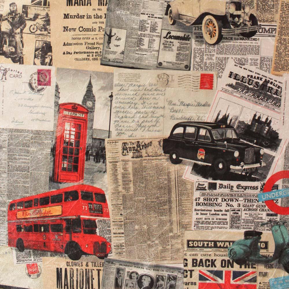 Kit 01 Poltrona e 01 Puff Dora Estampado Londres D26 Pés Palito Castanho D'Rossi