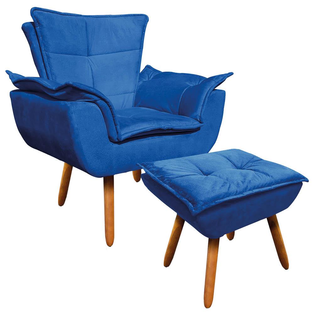 Kit 01 Poltrona Opala com 01 Puff Opala Suede Azul Royal Pés Palito Castanho D'Rossi