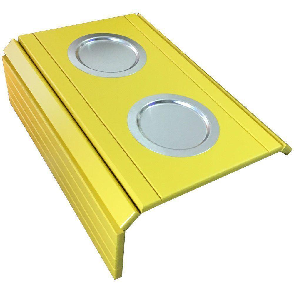 Kit 02 Bandeja Esteira para Braço de Sofá Porta Copo Aluminio Amarelo - D'Rossi