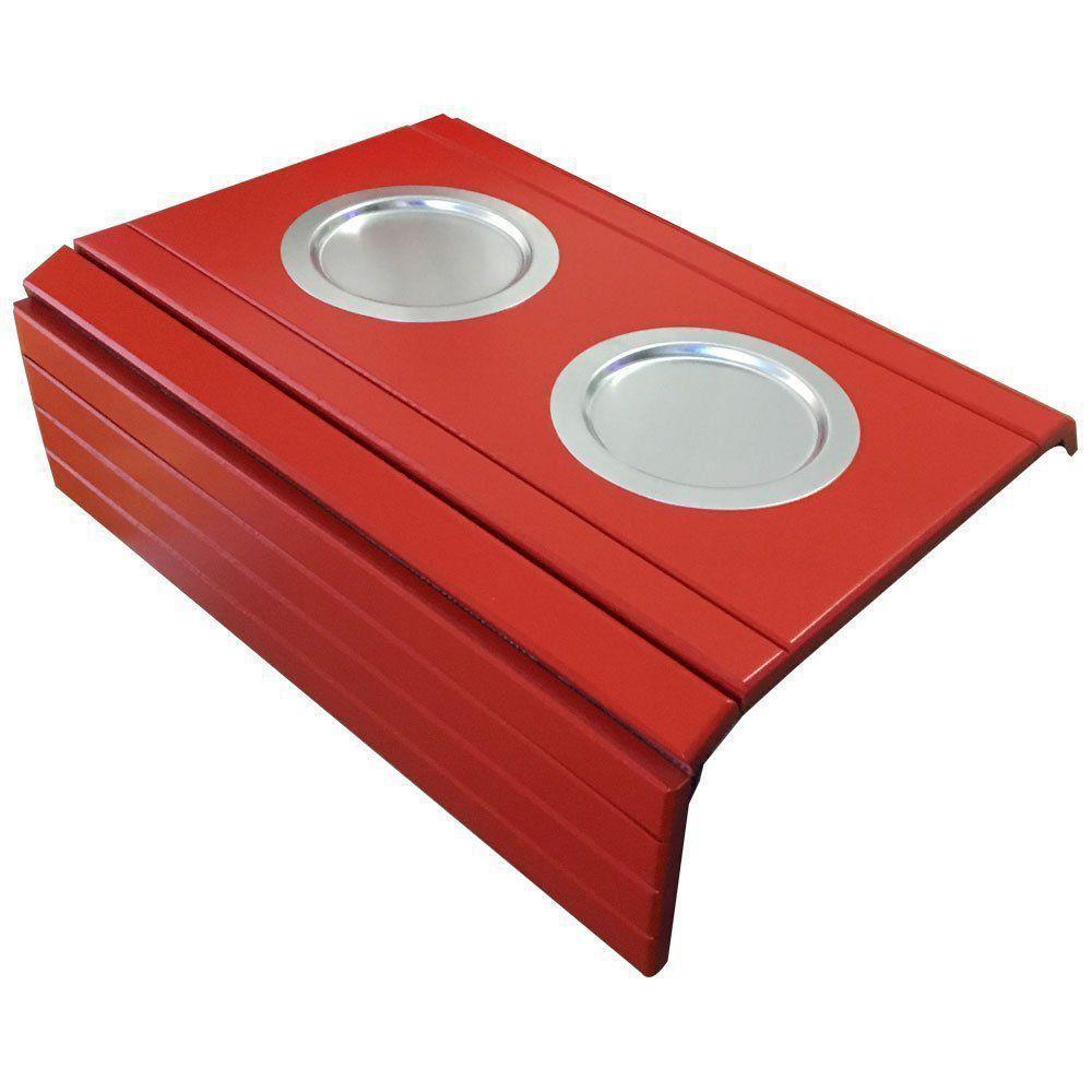 Kit 02 Bandeja Esteira para Braço de Sofá Porta Copo Aluminio Vermelho - D'Rossi