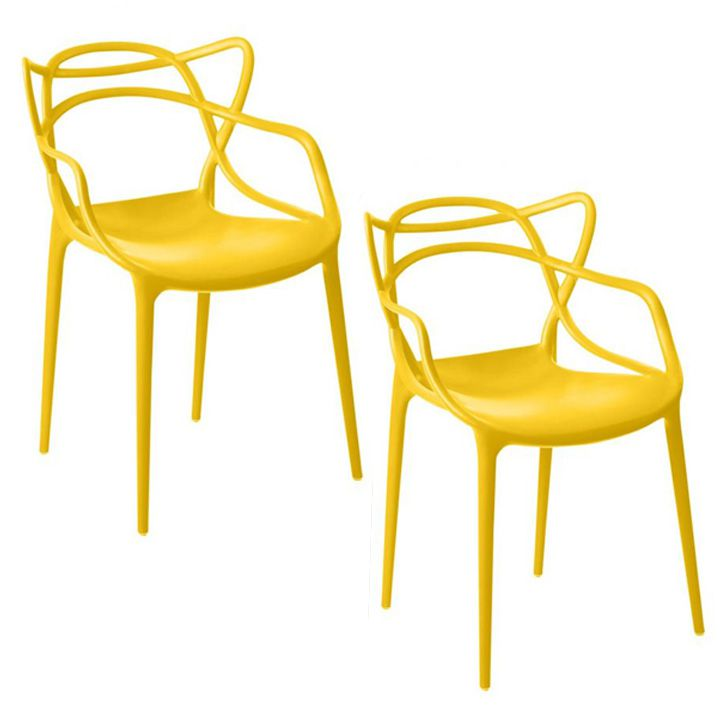 Kit 02 Cadeira Allegra Sala de Jantar Amarelo - D'Rossi