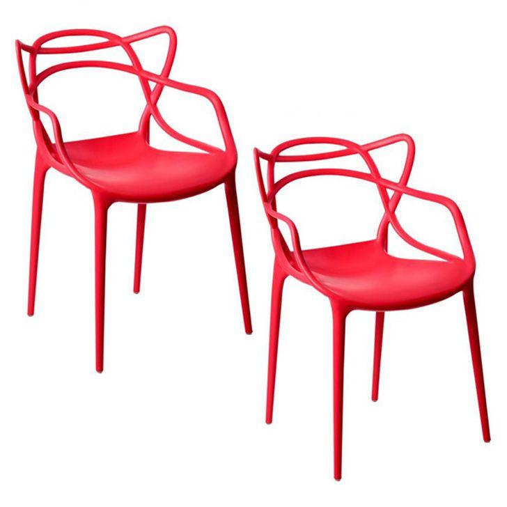 Kit 02 Cadeira Allegra Sala de Jantar Vermelho - D'Rossi
