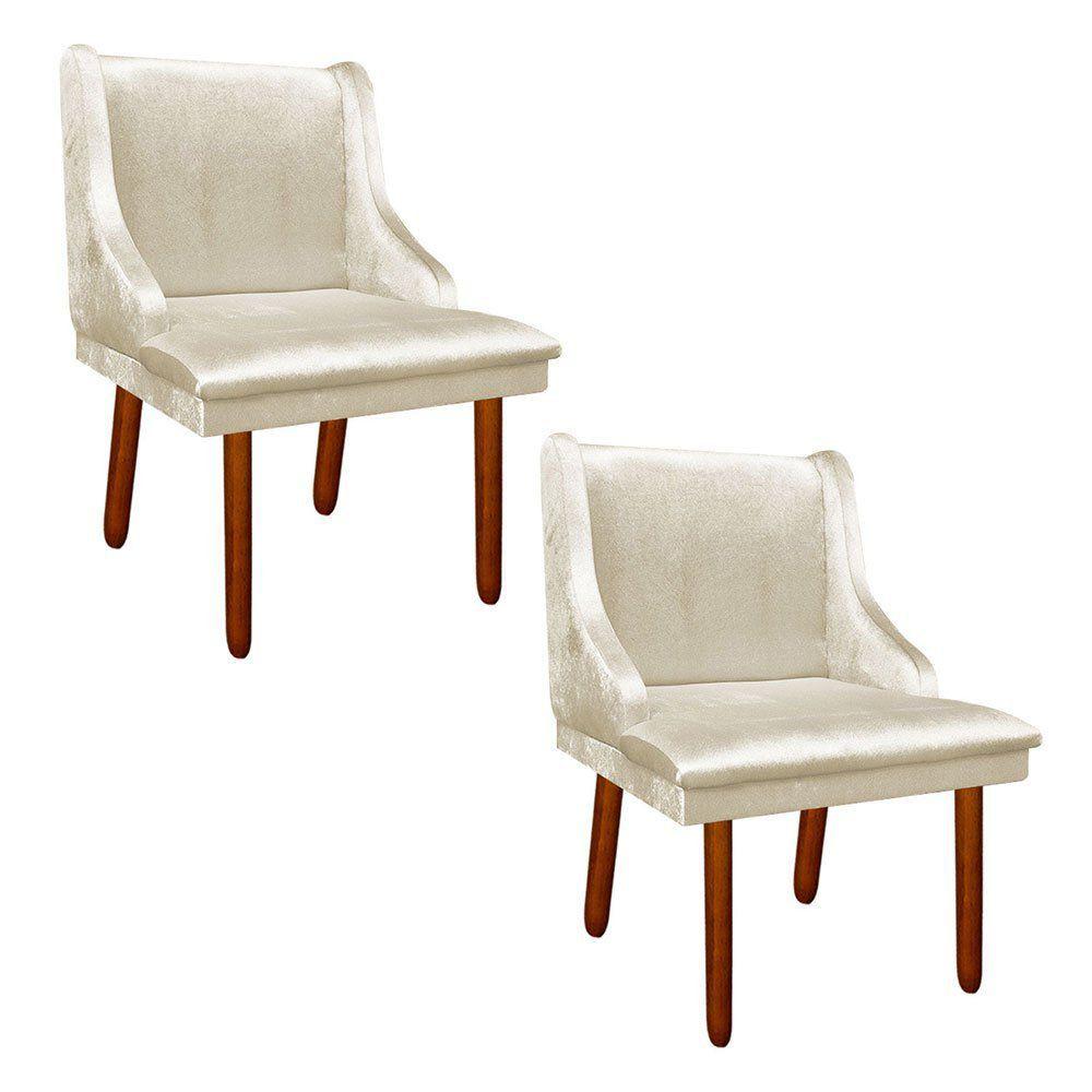 Kit 02 Cadeiras de Jantar Liz Acetinado Bege Pés Palito Castanho D'Rossi