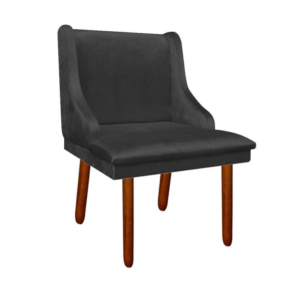 Kit 02 Cadeiras de Jantar Liz Acetinado Preto Pés Palito Castanho D'Rossi
