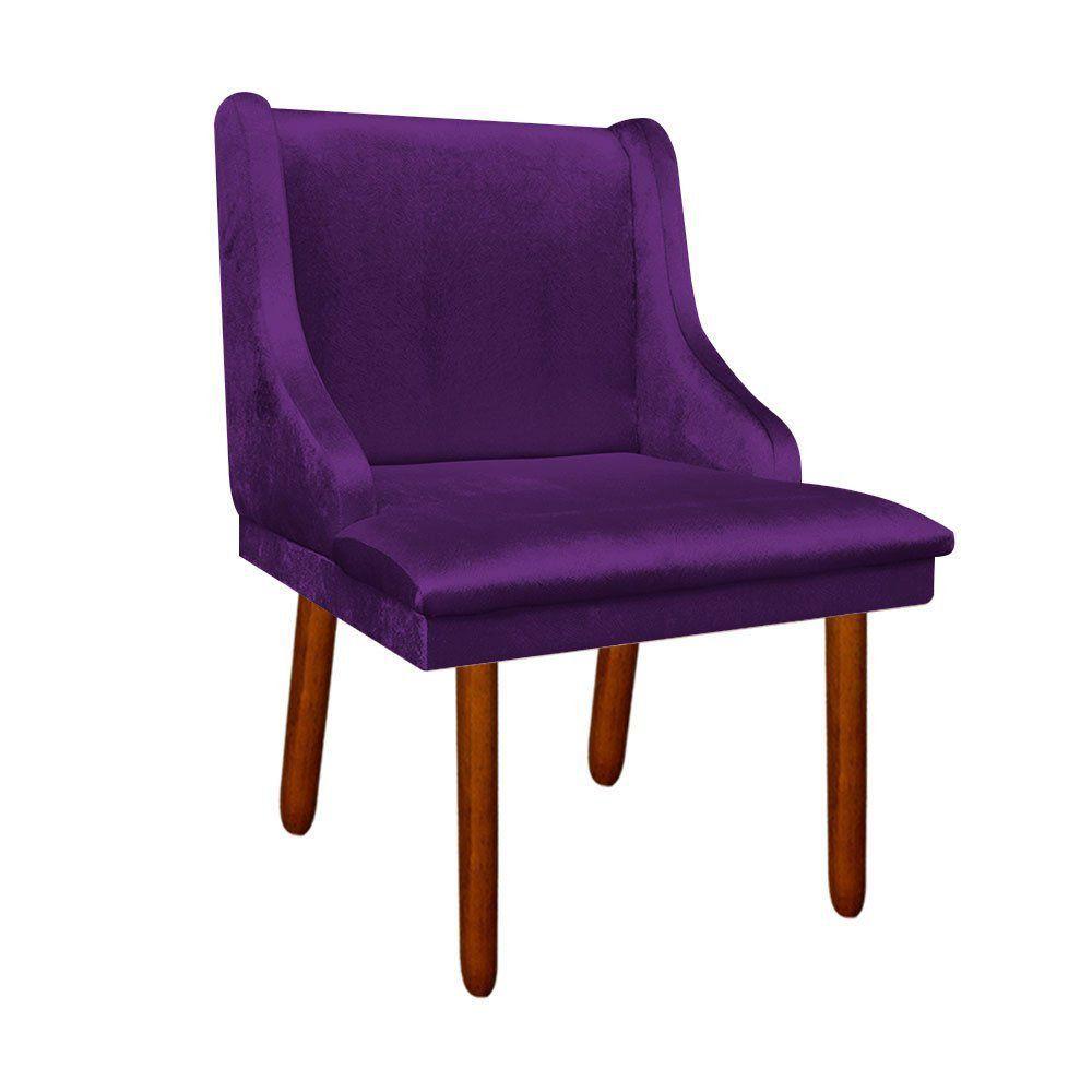 Kit 02 Cadeiras de Jantar Liz Acetinado Roxo Pés Palito Castanho D'Rossi