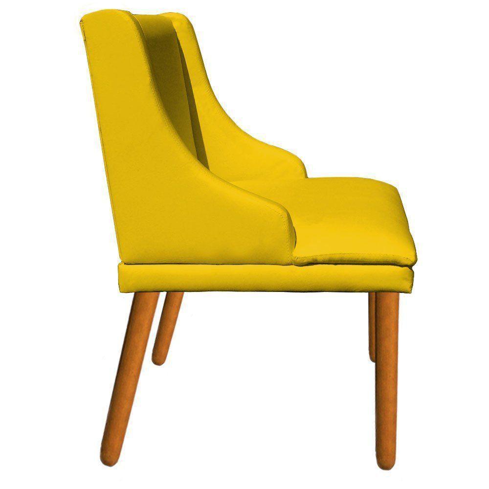 Kit 02 Cadeiras de Jantar Liz Corino Amarelo Pés Palito Castanho D'Rossi