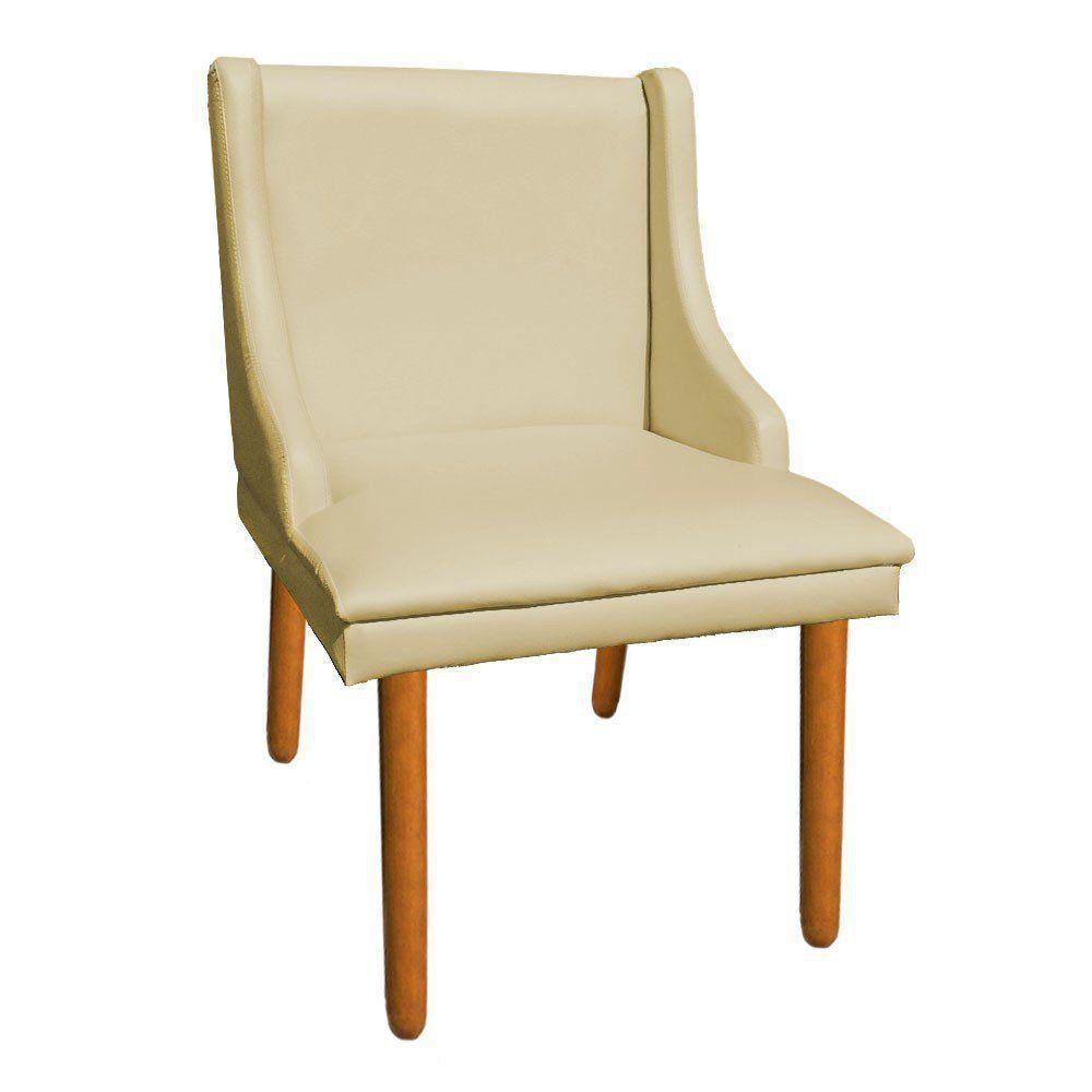 Kit 02 Cadeiras de Jantar Liz Corino Bege Pés Palito Castanho D'Rossi