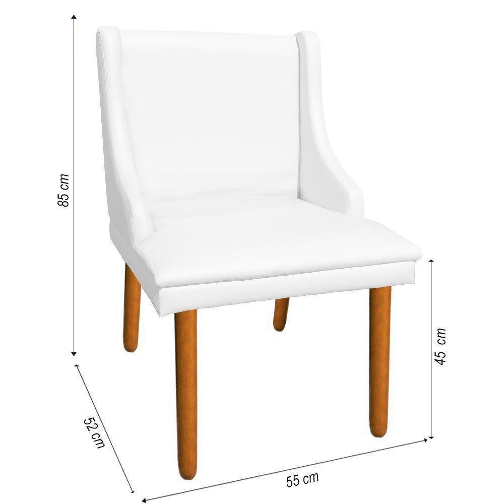 Kit 02 Cadeiras de Jantar Liz Corino Branco Pés Palito Castanho D'Rossi