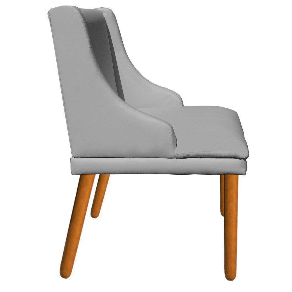 Kit 02 Cadeiras de Jantar Liz Corino Cinza Pés Palito Castanho D'Rossi