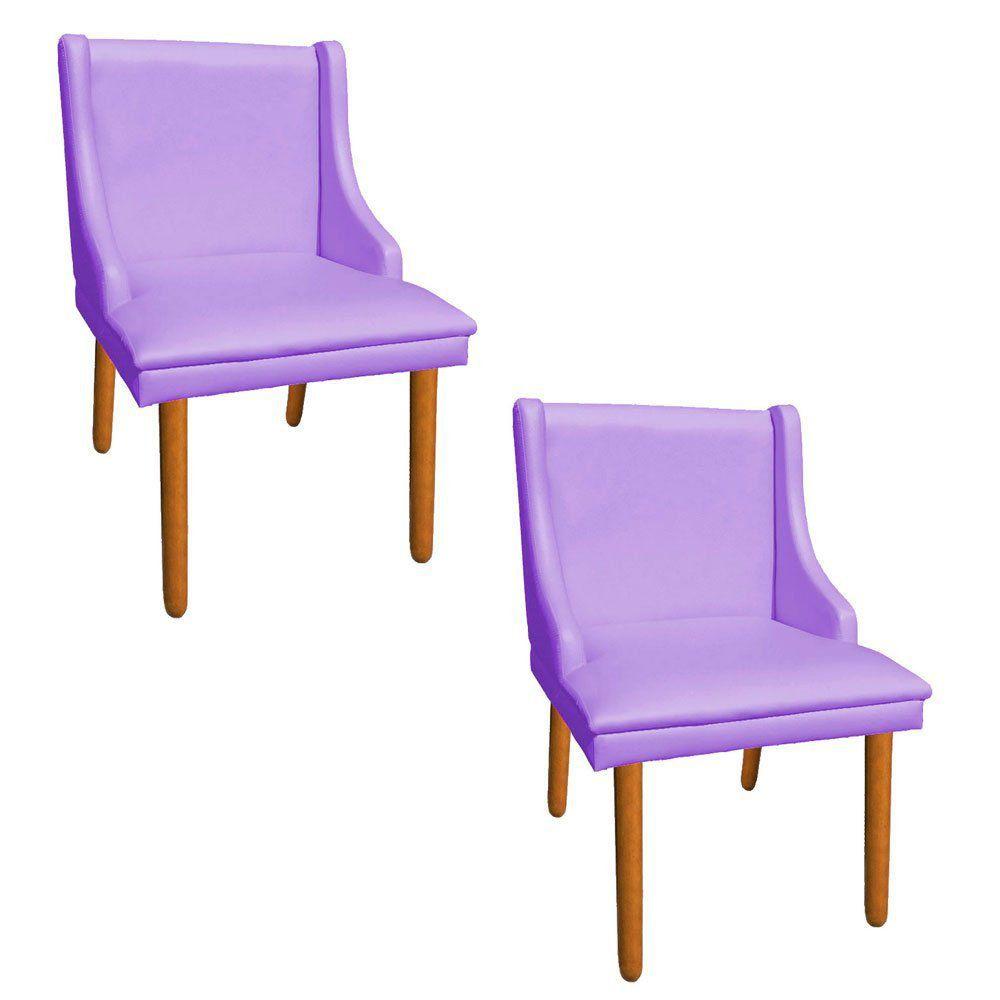 Kit 02 Cadeiras de Jantar Liz Corino Lilás Pés Palito Castanho D'Rossi