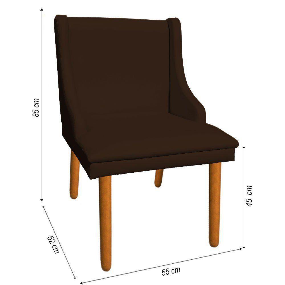 Kit 02 Cadeiras de Jantar Liz Corino Marrom Pés Palito Castanho D'Rossi