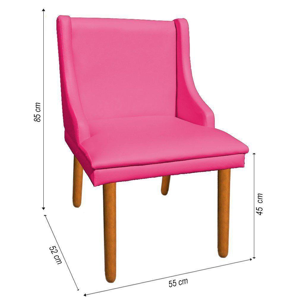 Kit 02 Cadeiras de Jantar Liz Corino Pink Pés Palito Castanho D'Rossi