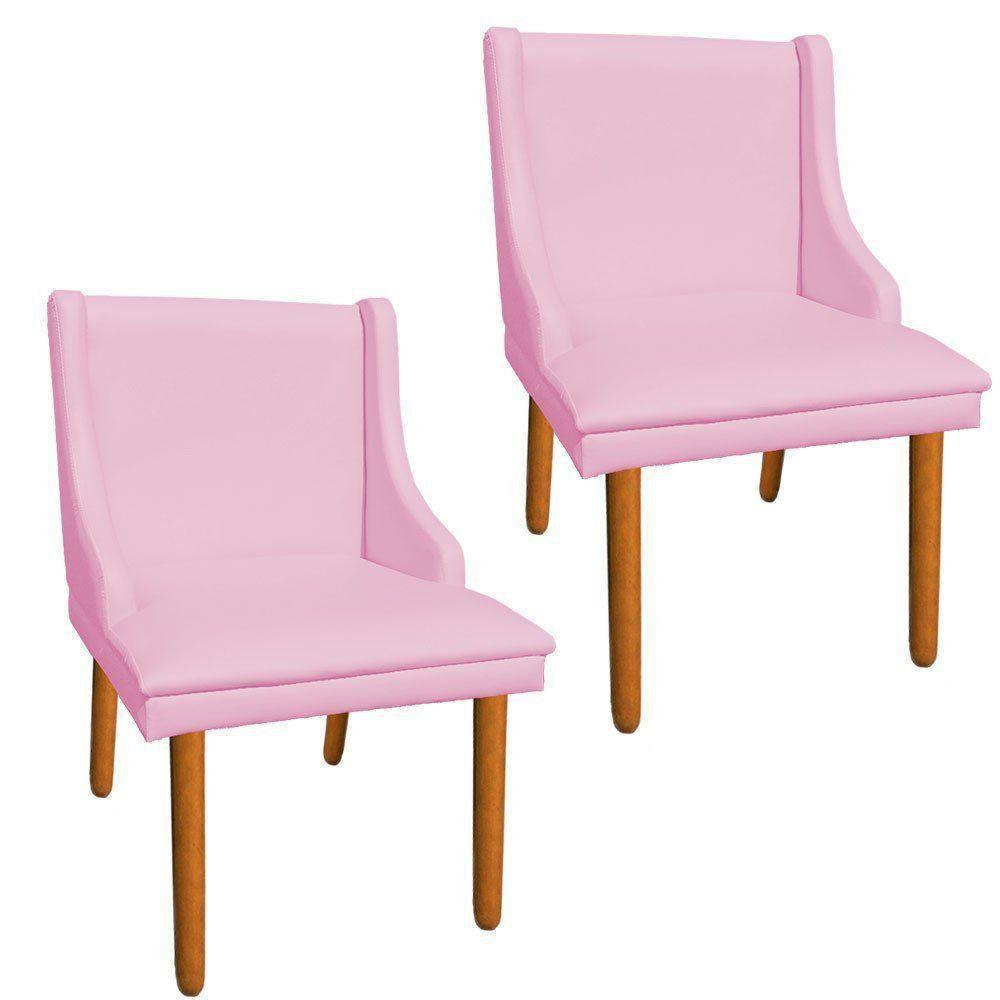 Kit 02 Cadeiras de Jantar Liz Corino Rosa Bebê Pés Palito Castanho D'Rossi