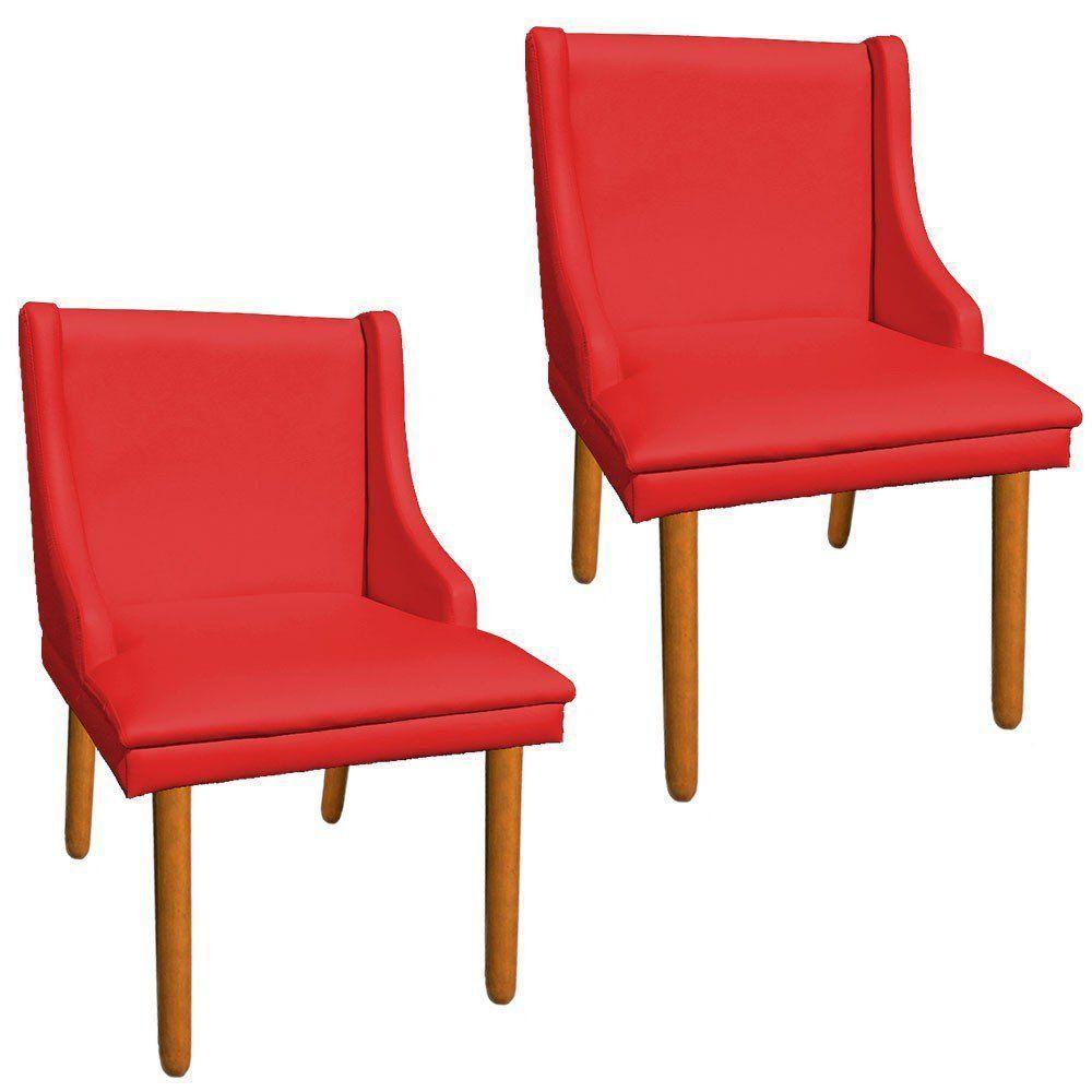 Kit 02 Cadeiras de Jantar Liz Corino Vermelho Pés Palito Castanho D'Rossi