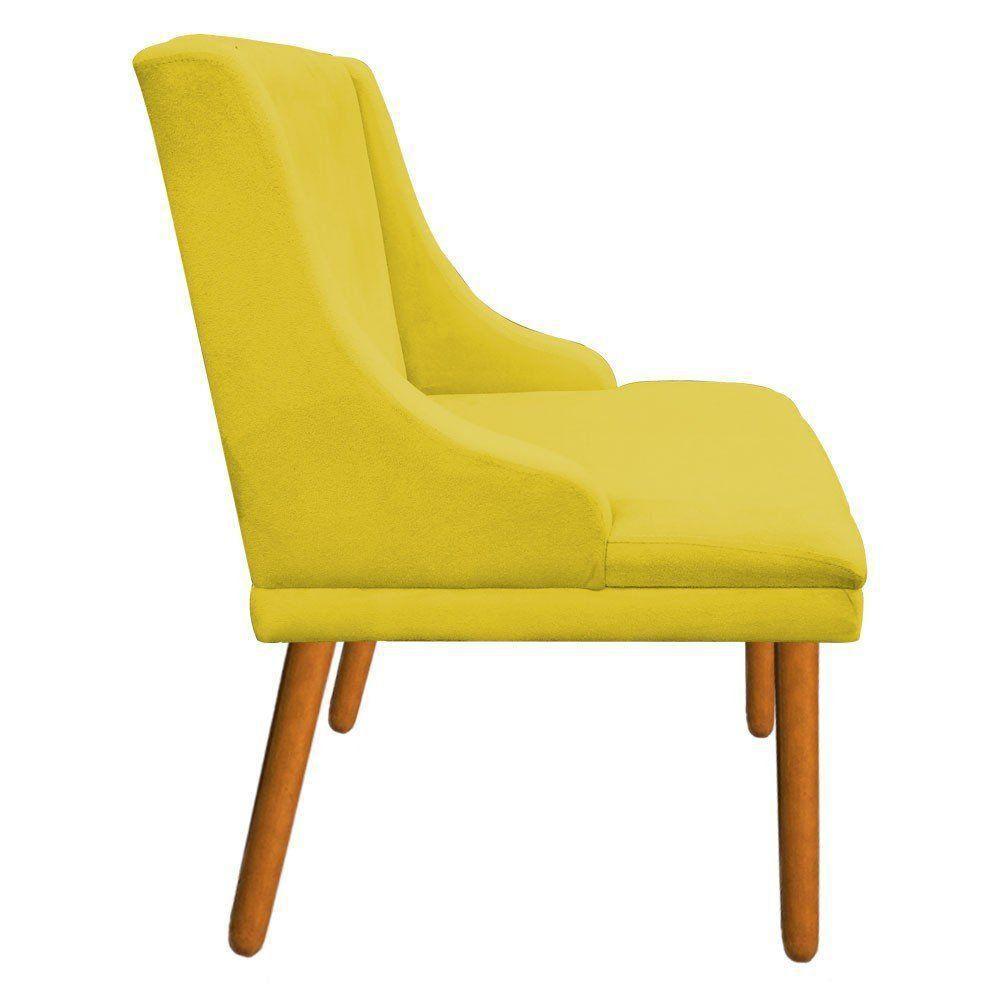 Kit 02 Cadeiras de Jantar Liz Suede Amarelo Pés Palito Castanho D'Rossi