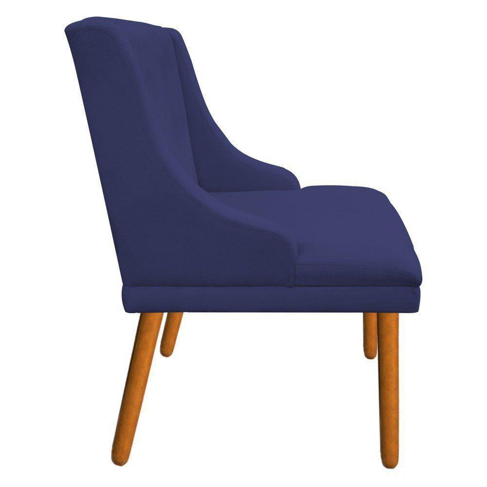 Kit 02 Cadeiras de Jantar Liz Suede Azul Marinho Pés Palito Castanho D'Rossi