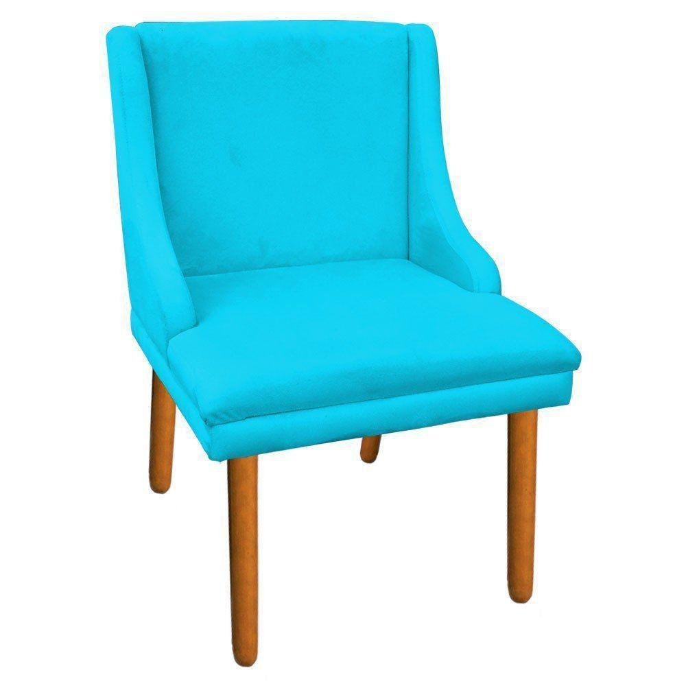 Kit 02 Cadeiras de Jantar Liz Suede Azul Turquesa Pés Palito Castanho D'Rossi