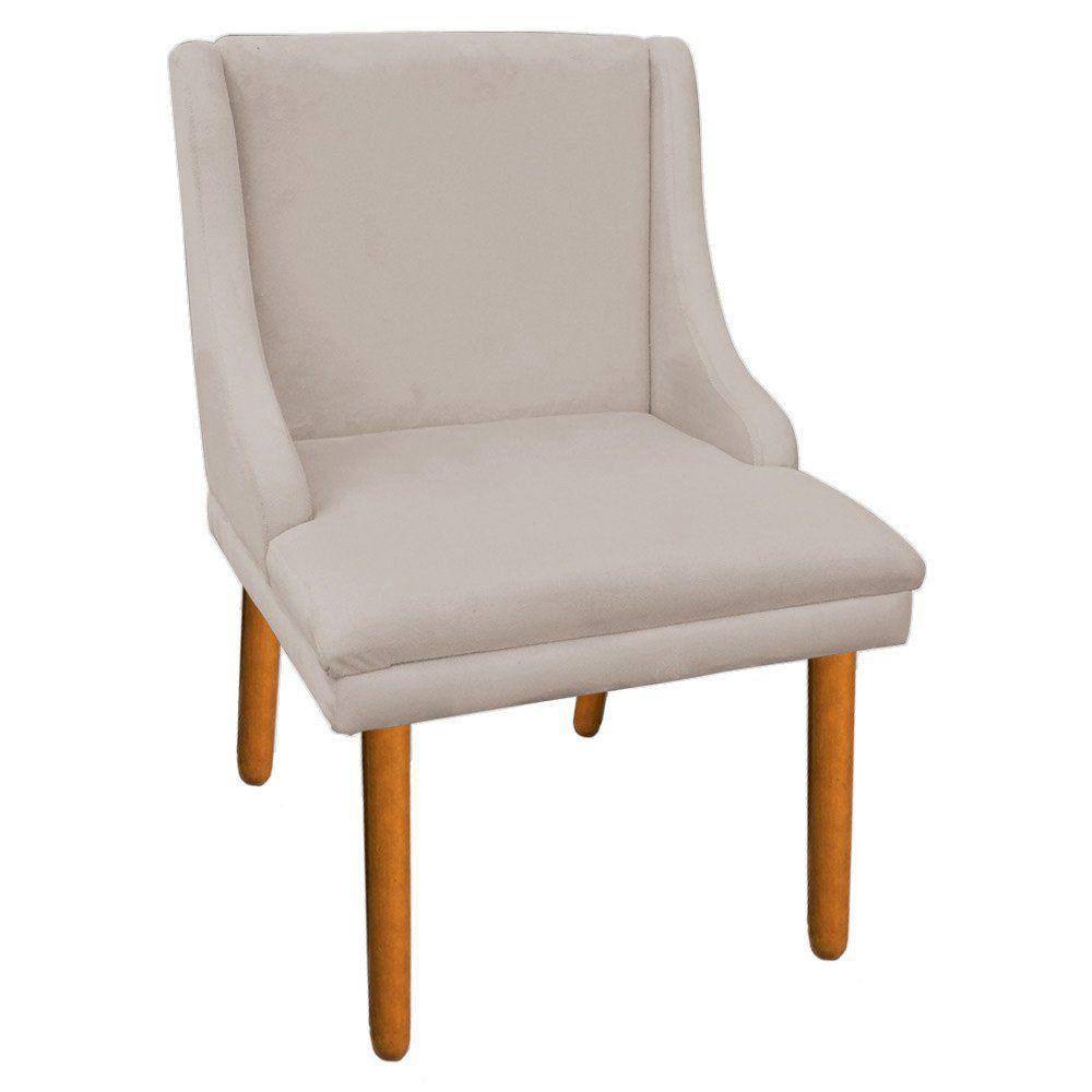 Kit 02 Cadeiras de Jantar Liz Suede Bege Pés Palito Castanho D'Rossi