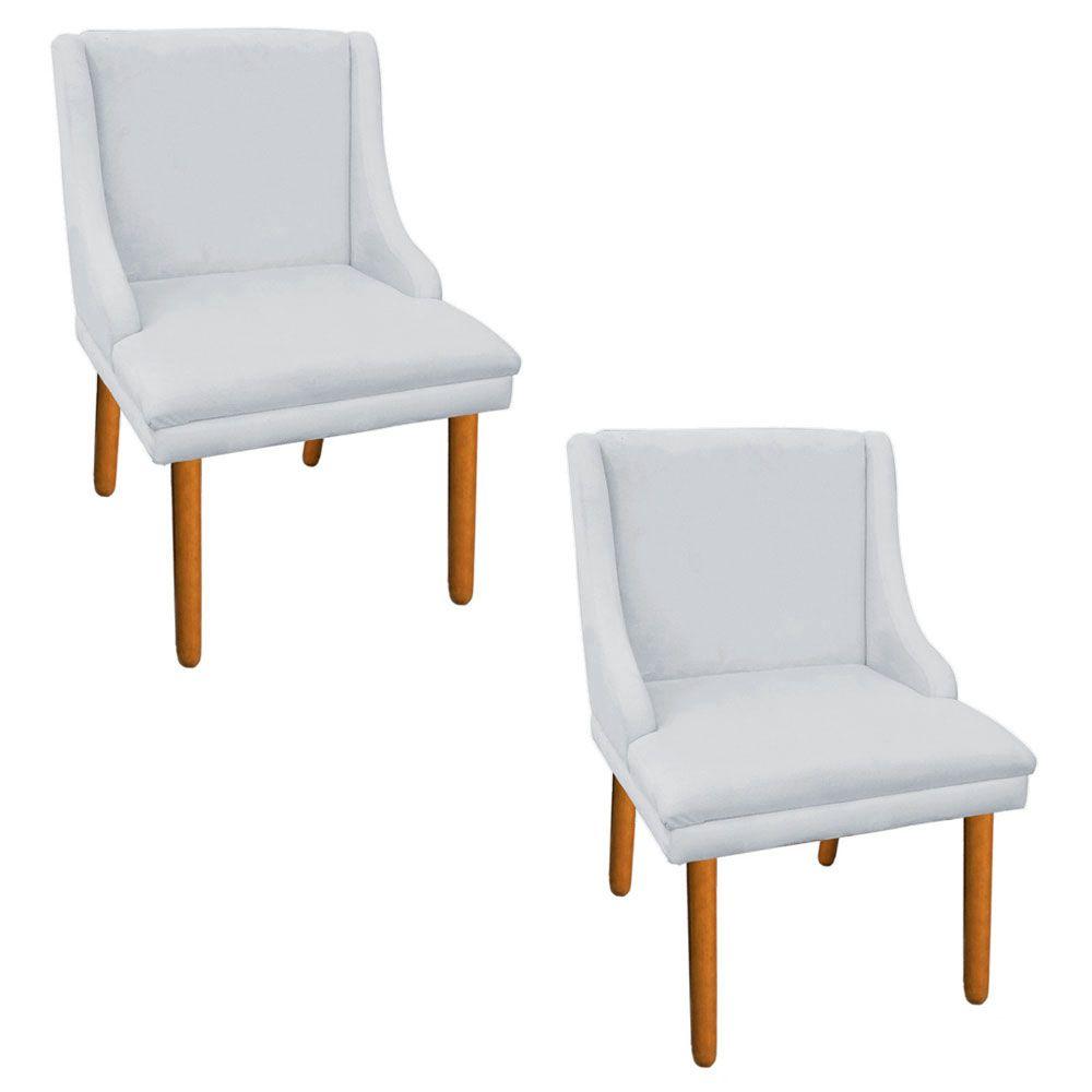 Kit 02 Cadeiras de Jantar Liz Suede Cinza Pés Palito Castanho D'Rossi