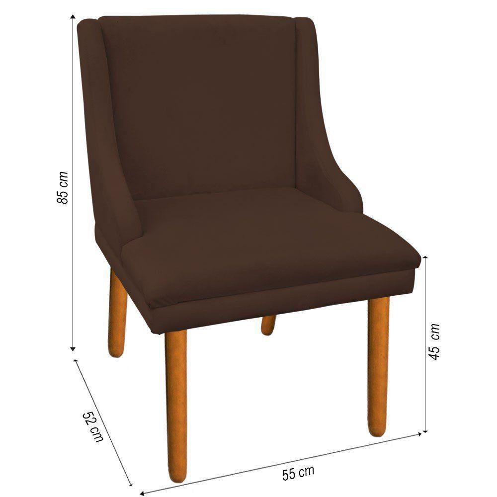 Kit 02 Cadeiras de Jantar Liz Suede Marrom Pés Palito Castanho D'Rossi