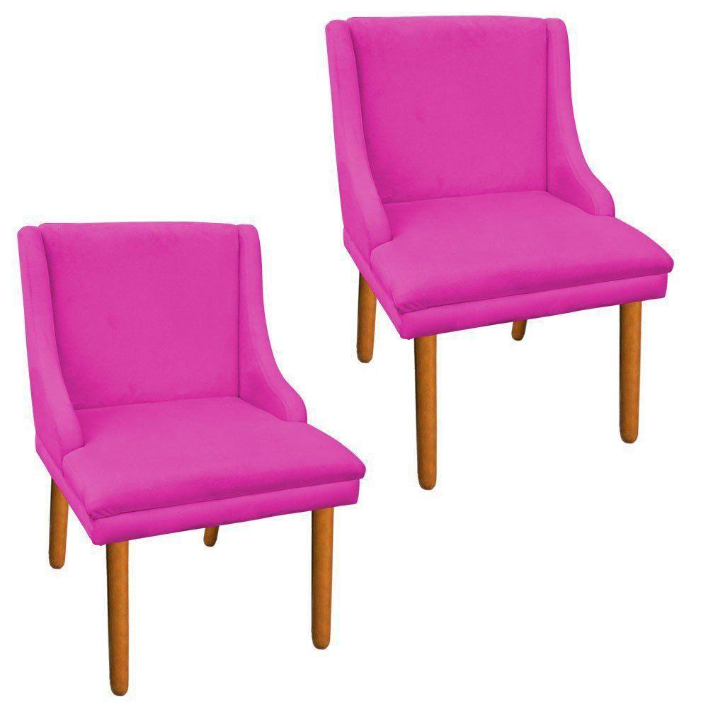 Kit 02 Cadeiras de Jantar Liz Suede Pink Pés Palito Castanho D'Rossi