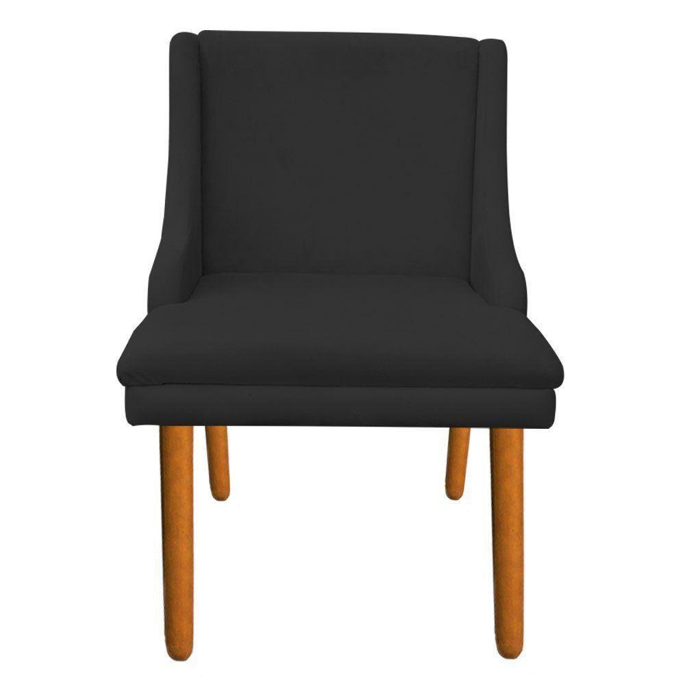 Kit 02 Cadeiras de Jantar Liz Suede Preto Pés Palito Castanho D'Rossi