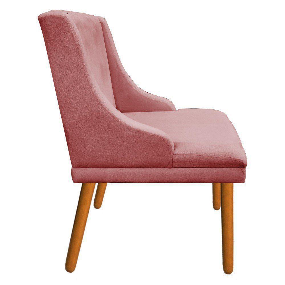 Kit 02 Cadeiras de Jantar Liz Suede Rose Pés Palito Castanho D'Rossi