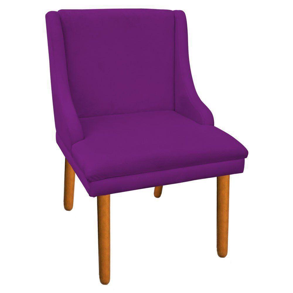 Kit 02 Cadeiras de Jantar Liz Suede Roxo Pés Palito Castanho D'Rossi