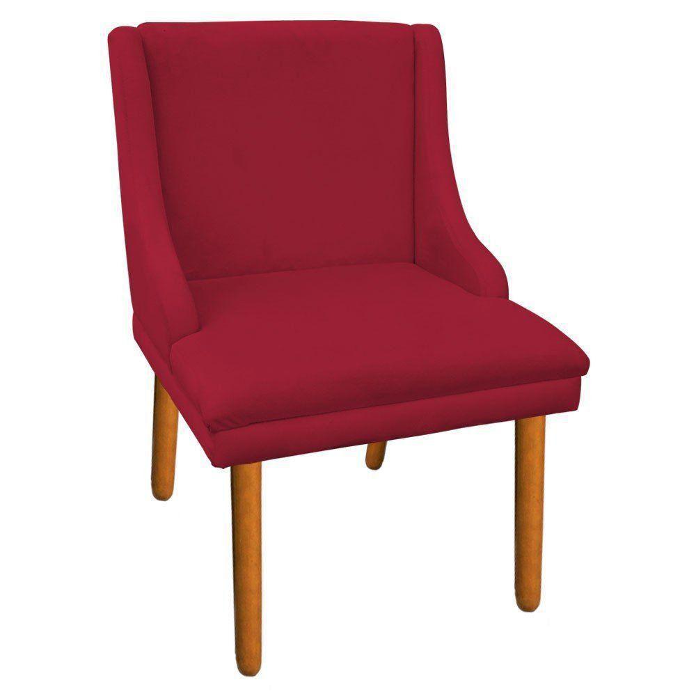 Kit 02 Cadeiras de Jantar Liz Suede Vermelho Pés Palito Castanho D'Rossi