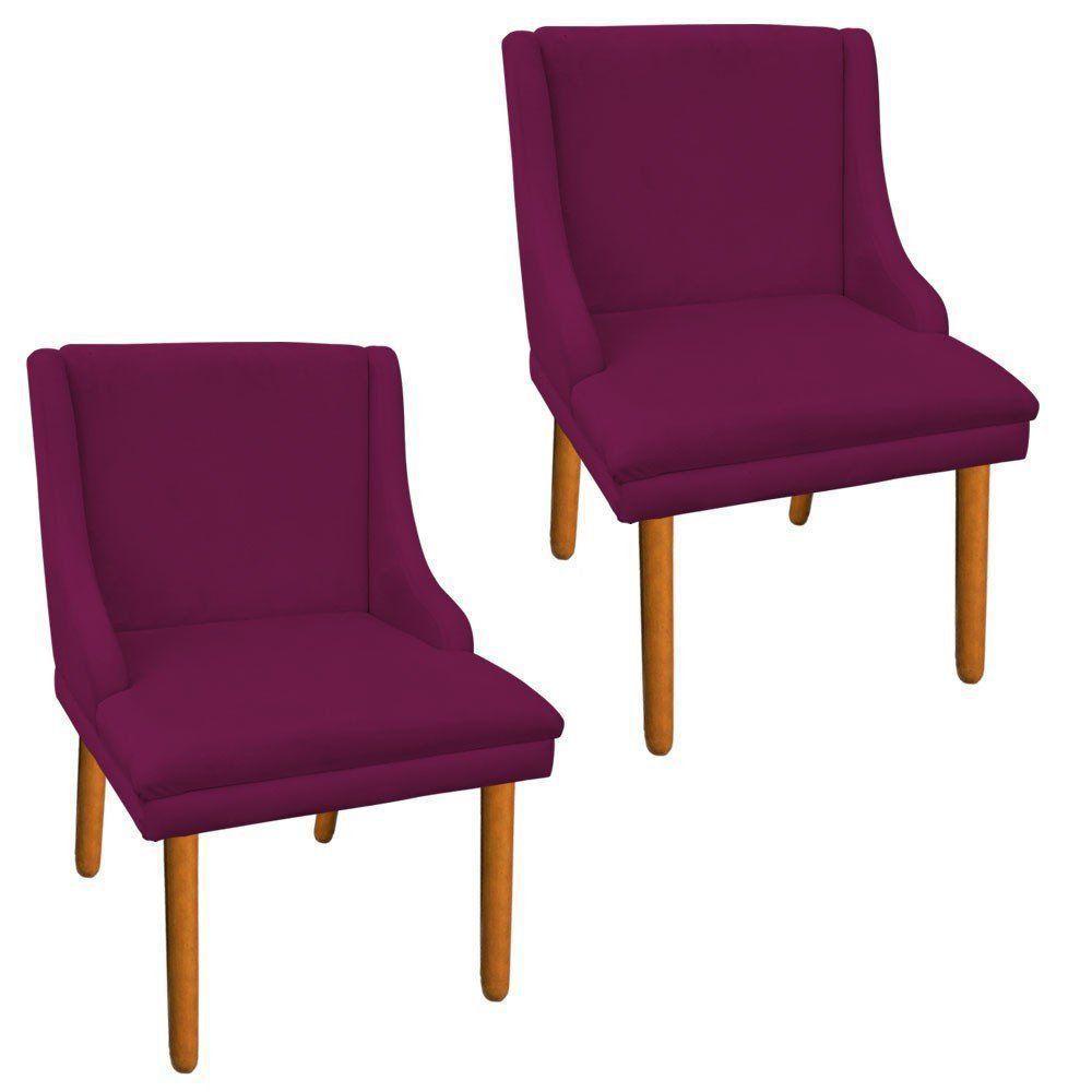 Kit 02 Cadeiras de Jantar Liz Suede Vinho Pés Palito Castanho D'Rossi