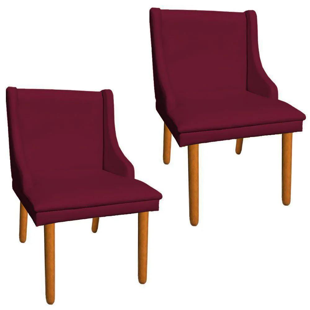 Kit 02 Cadeiras de Jantar Liz Corino Vinho Pés Palito Castanho D'Rossi