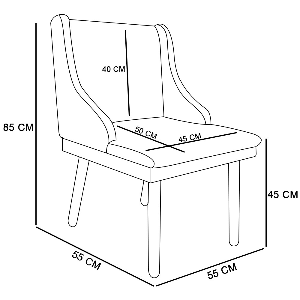 Kit 02 Cadeiras de Jantar Liz Suede Marrom Rato Pés Palito D'Rossi