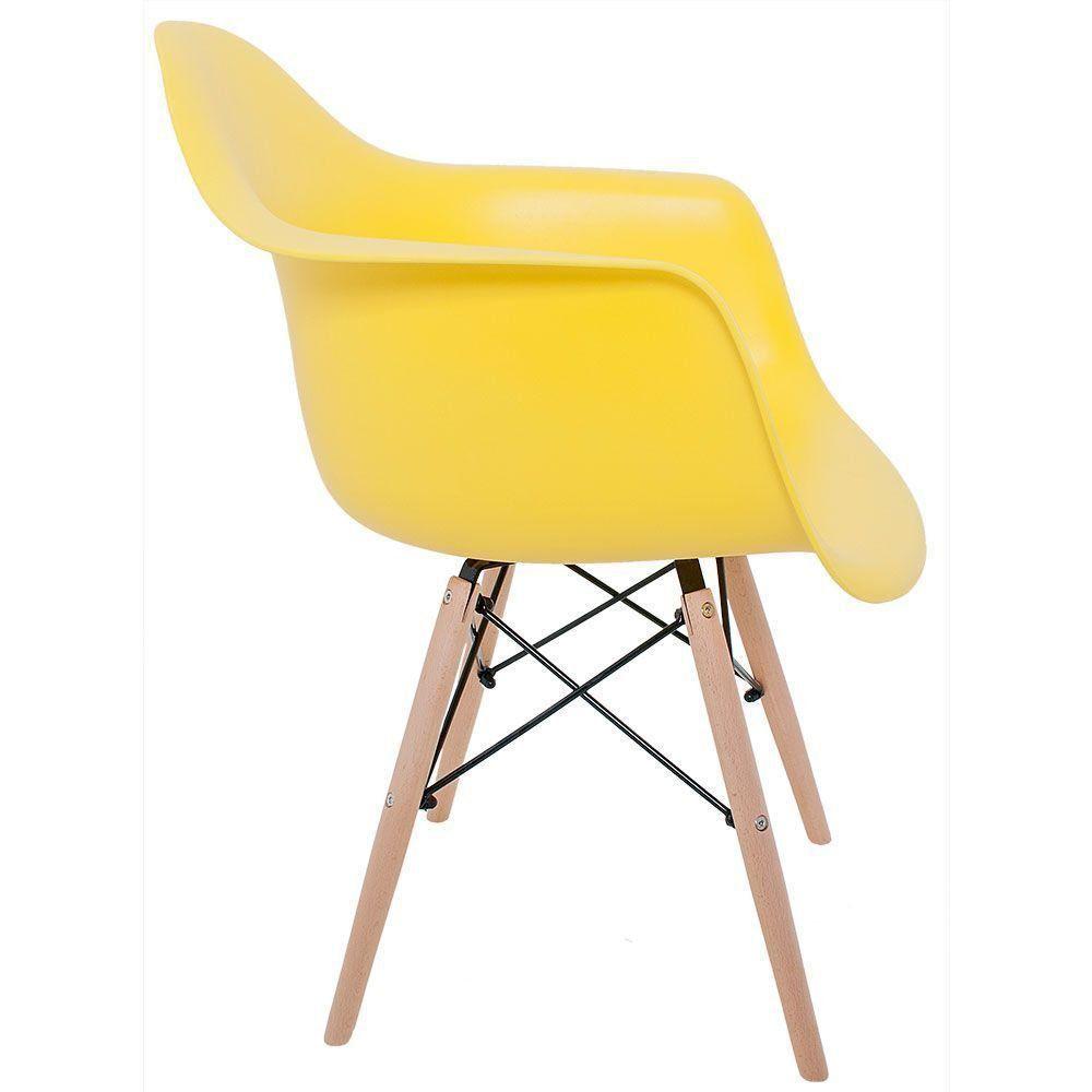 Kit 02 Cadeiras Melbourne Eiffel Charles Eames Base Madeira - Amarelo - D'Rossi