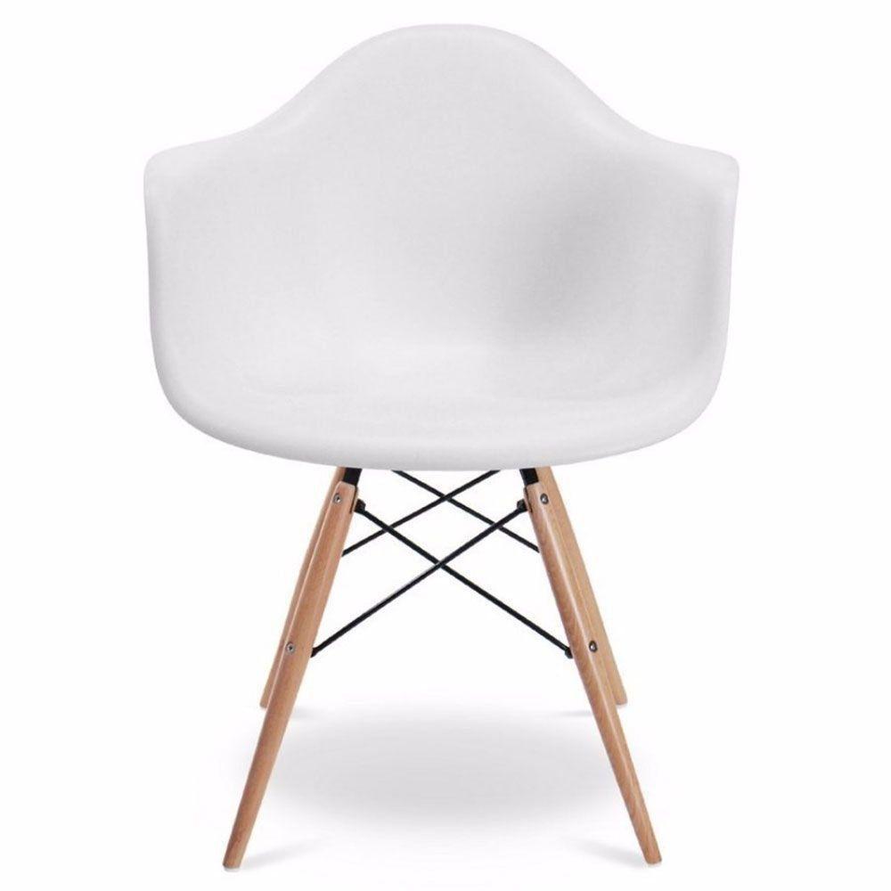 Kit 02 Cadeiras Melbourne Eiffel Charles Eames Base Madeira - Branca - D'Rossi
