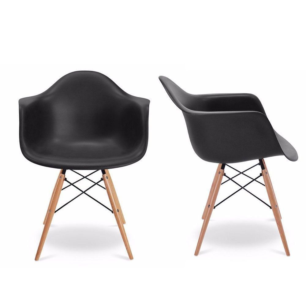 Kit 02 Cadeiras Melbourne Eiffel Charles Eames Base Madeira - Preta - D'Rossi